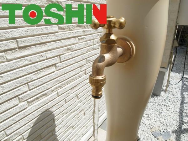 水はね防止 外水道蛇口に泡沫アダプター