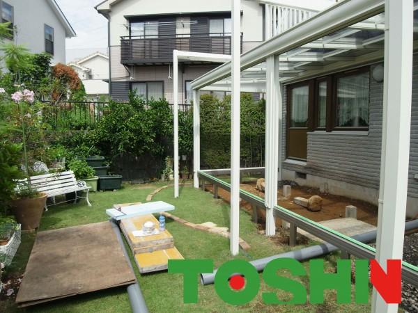 ガーデンルーム暖蘭物語 自然石貼りテラス 横浜市都筑区