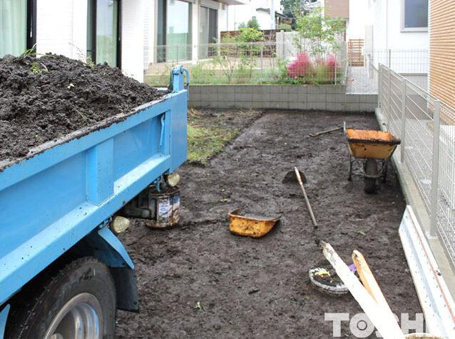 雑草の手間かかからないお庭 施工開始 相模原市