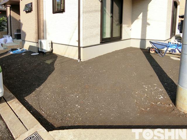 海老名市の駐車場工事 土間コンクリート下地完了