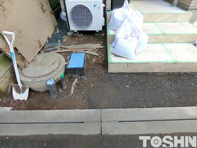 海老名市の新築外構 おしゃれな玄関廻り 施工前