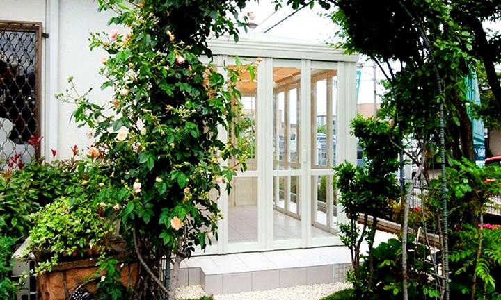 神奈川の暖蘭物語のガーデンルーム,ガーデニングのエクステリア展示場01