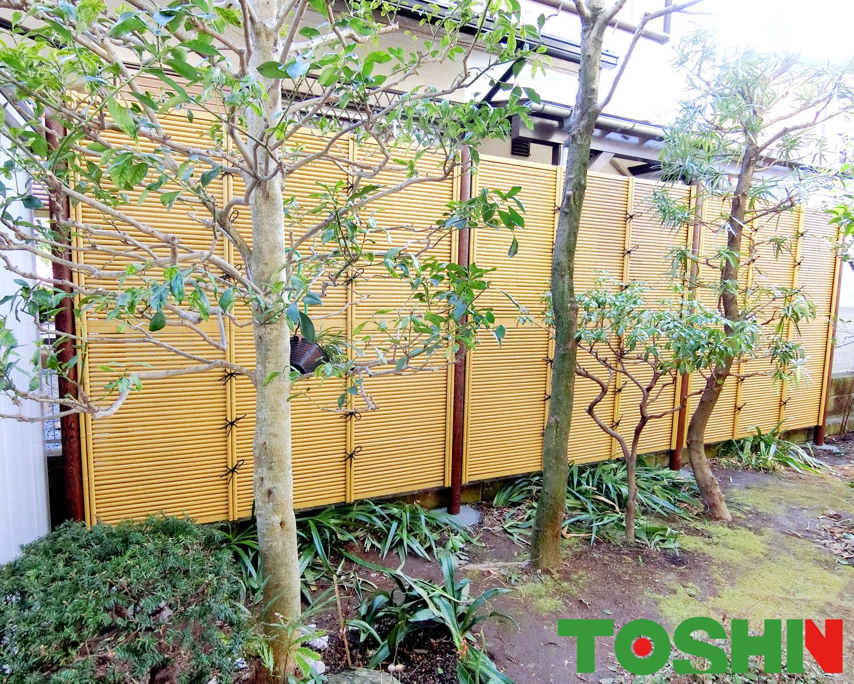 町田市の目隠し竹垣設置のエクステリア工事
