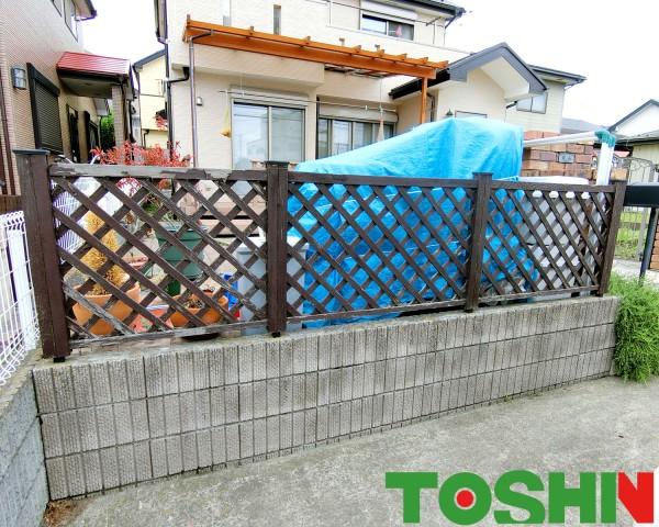 相模原市の目隠しフェンスと物置でお庭を有効活用例