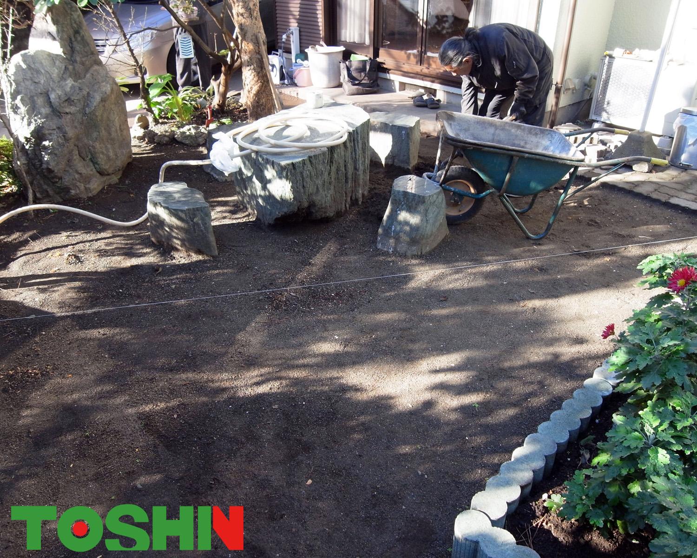 お庭の平板敷き工事 施工前