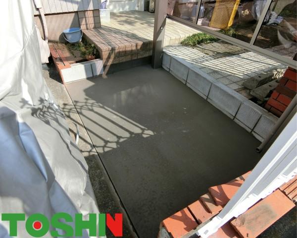 駐輪場にサイクルポート設置 相模原市 コンクリート打設