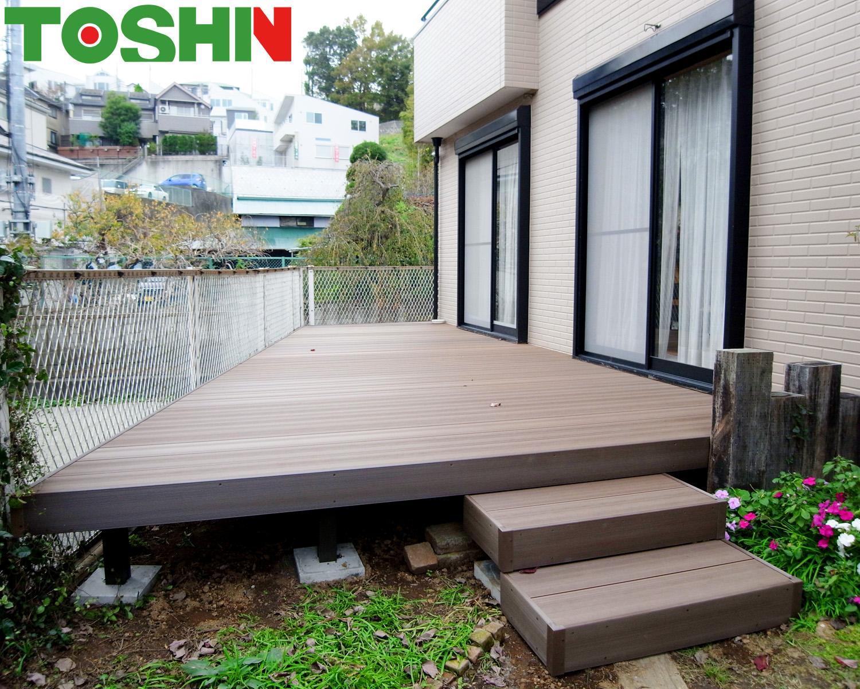 町田市の人工木ウッドデッキ設置の外構工事