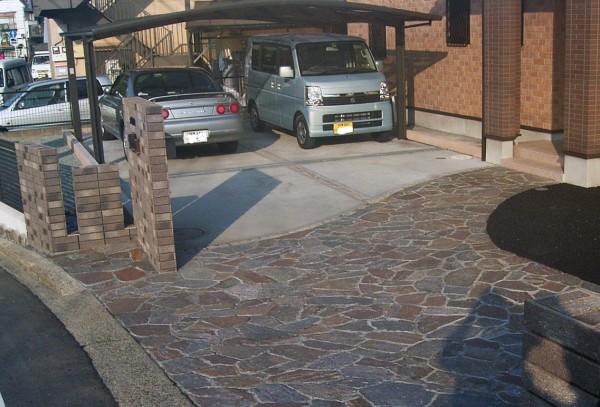 相模原市の石貼りアプローチの外構工事