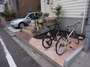 庭先をちょっとリフォームしておしゃれな自転車置場へ 相模原市