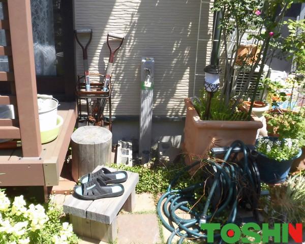 お洒落なレンガ調立水栓でお庭を演出 相模原市