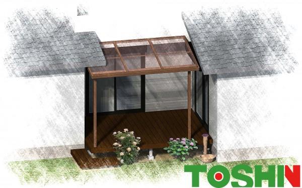 ウッドデッキにLIXILのテラス屋根シュエットをつけて快適に 多摩市