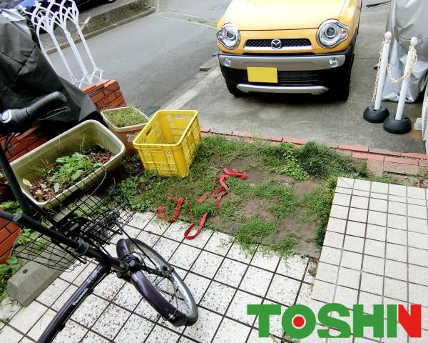 駐輪場にサイクルポート設置 相模原市 施工前タイル