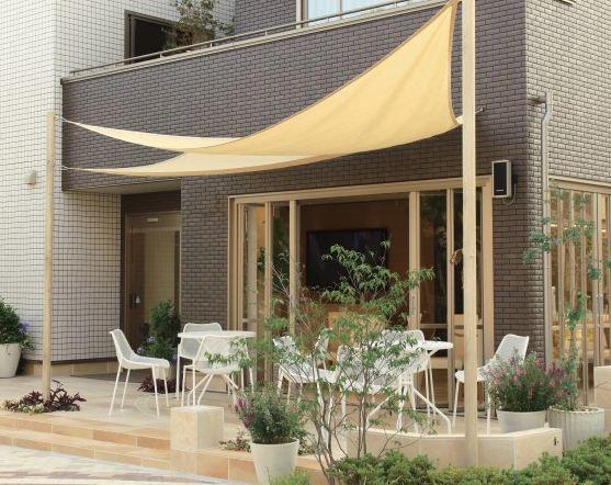 相模原市の庭のテラス工事【タカショー】シェードセイル