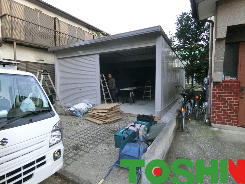 ヨド倉庫の組立て完了