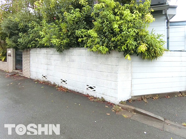 ブロック塀を低くしてフェンス取付け