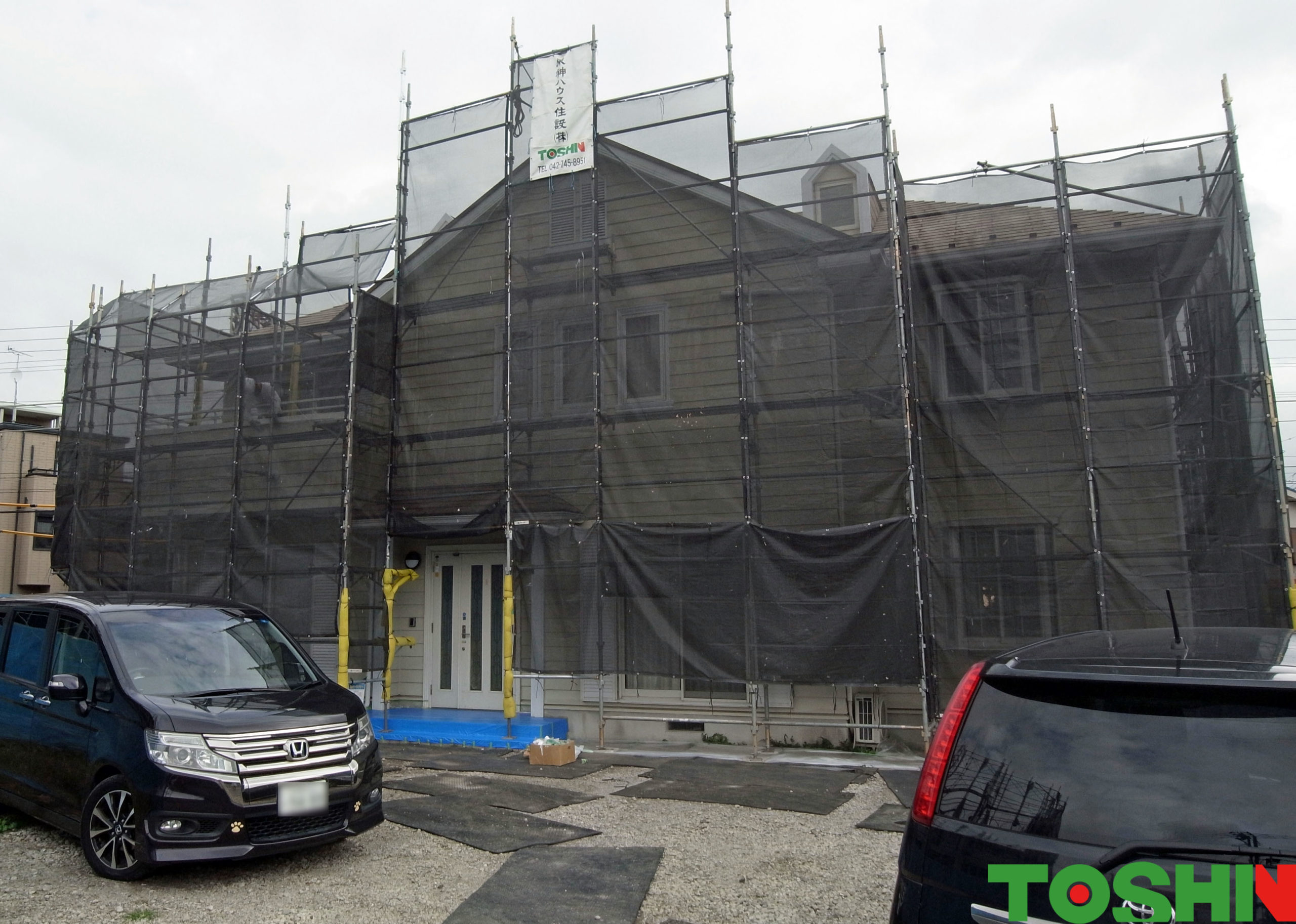 屋根・外壁塗装 施工中