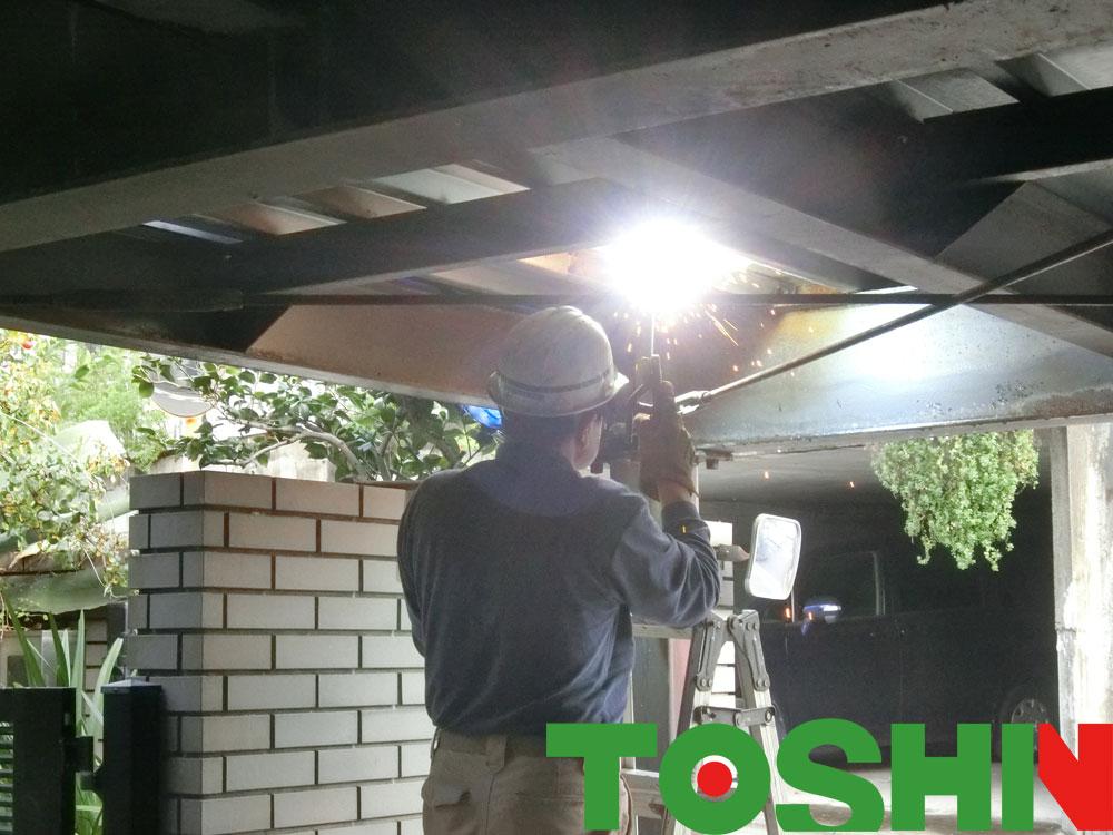 鉄骨架台の改造工事