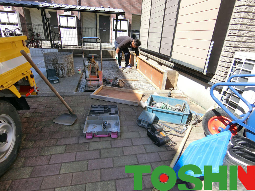 車庫土間の拡張工事