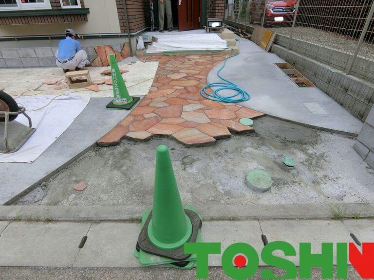 新築外構 石貼り工事