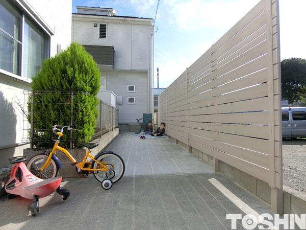 めかくしフェンスと舗装工事